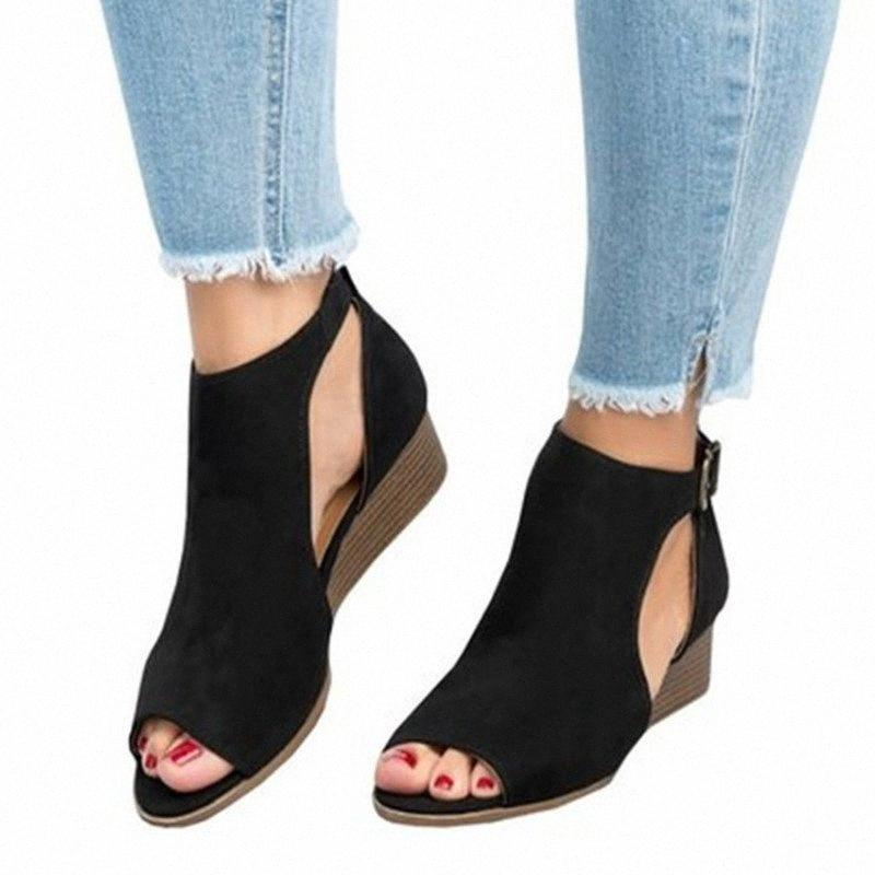 2020 Summer Fashion Wedge Sandales peep toes Gladiator Sandales Femmes Plateforme Casual Chaussures Pour Size35 43 Blanc Sandales Talons Wedge 5K7h #