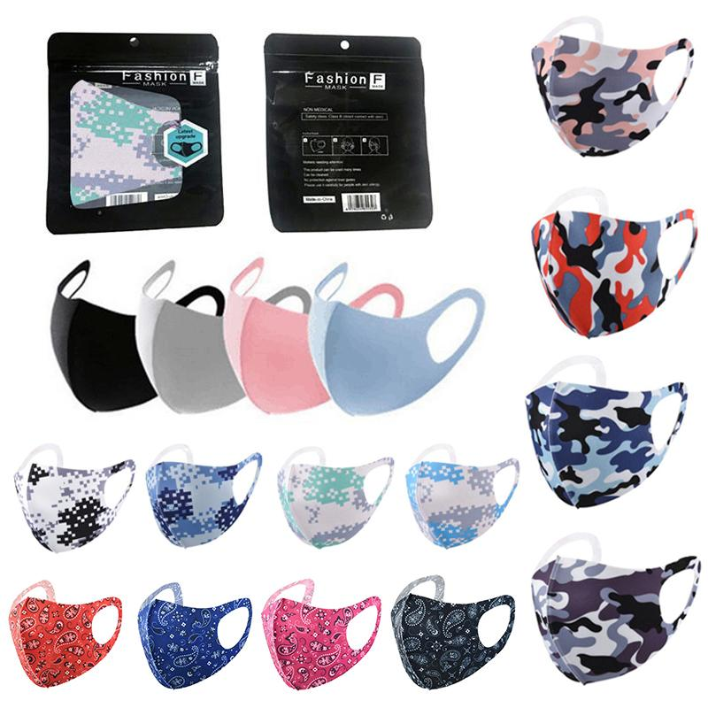 Камуфляжная маска для лица моющийся взрослый дизайнер пыли PM2.5 респиратор многократные шелковые хлопковые маски бутик розничная упаковка