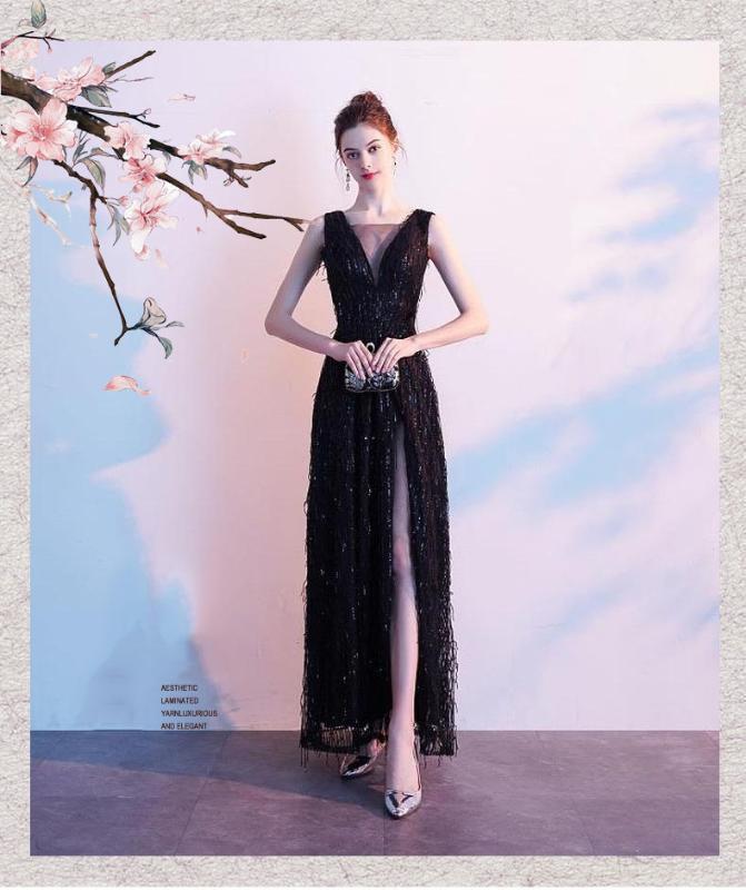 Intelectual del cordón atractivo elegante V-profundo de la tarde Negro Nuevo 2020 de las mujeres impresas sin tirantes de vestir de manga