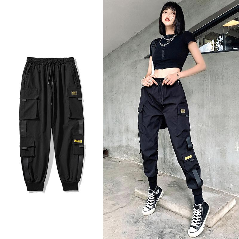 여성 탄성 허리 느슨한 Streetwear화물 바지 여성 패션 발목 길이 조깅 바지 숙 녀 플러스 Szie 2020 캐주얼 바지