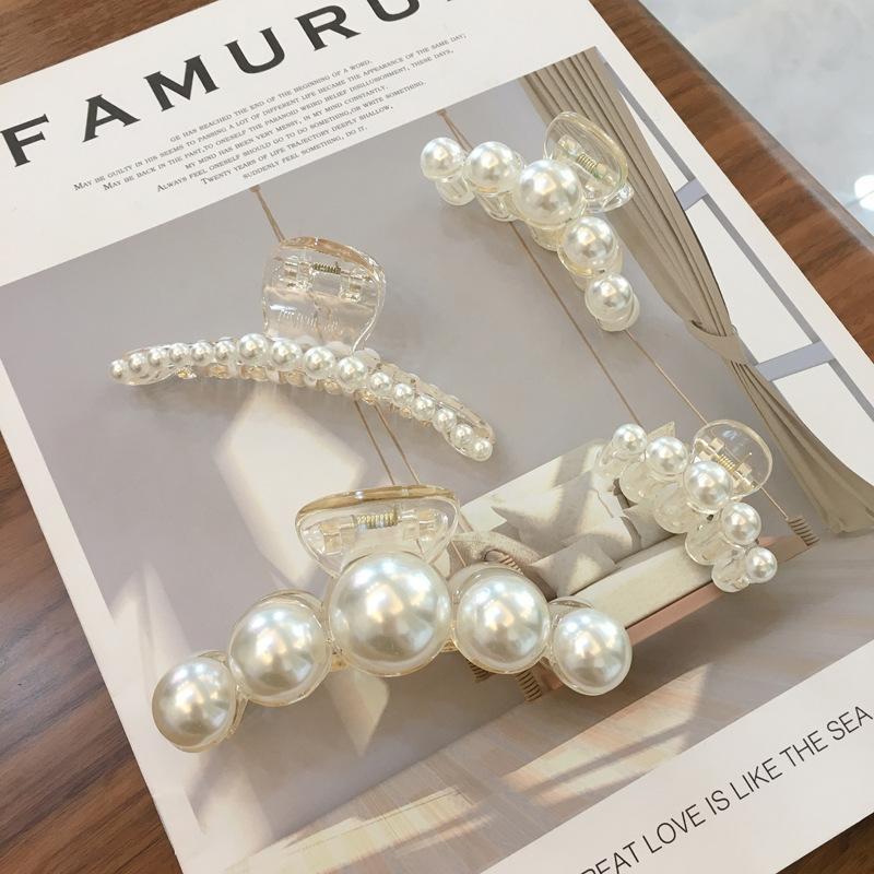 Korean Elegant Imitation Pearls Hair Ins Fashion Big Hair Holder Plastic Clips Simple Accessories For Ladies