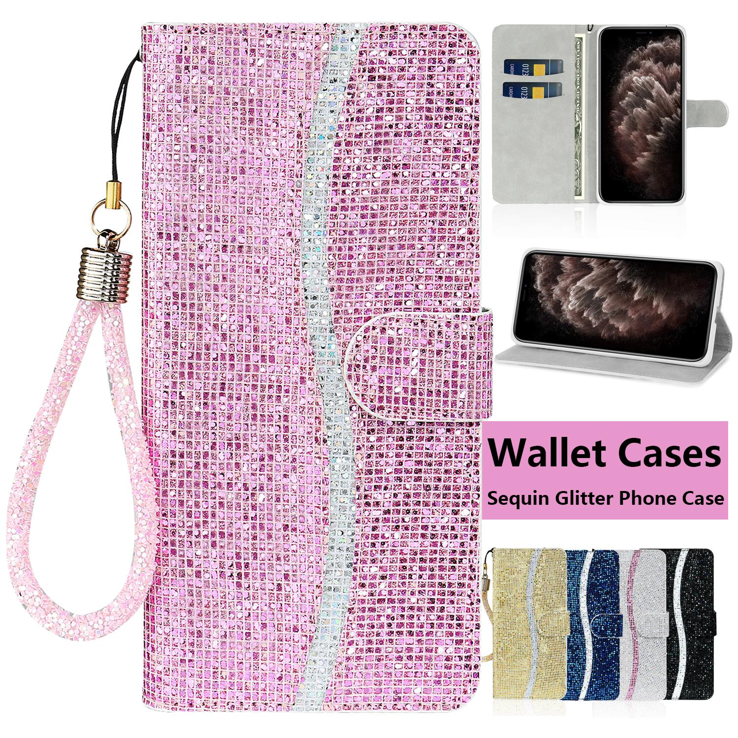 Sequin Glitter Wallet Phone Case for iPhone 11 Pro X XR XS Max 7 8 Plus Samsung Galaxy S20 Ultra Flip Multi Card Slots Flip Stand Cover Case