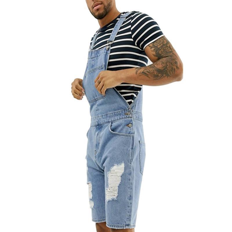 Men's Jeans 2021 Pocket Jumpsuits Pants Summer Retro Distressed Denim Bib Overalls For Men Male Classic Suspender Short