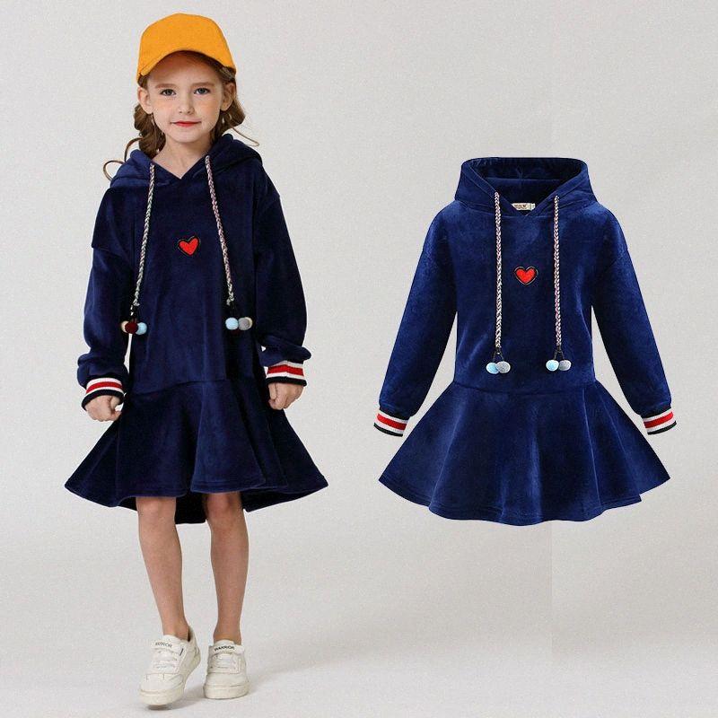 4-14 yaşında Sıcak Çocuklar Casual Kız Giydirme Elbise Lv0q # için Kış Genç Kızlar Kapşonlu Kalın Triko elbiseler Artı Kadife Tutu Elbise