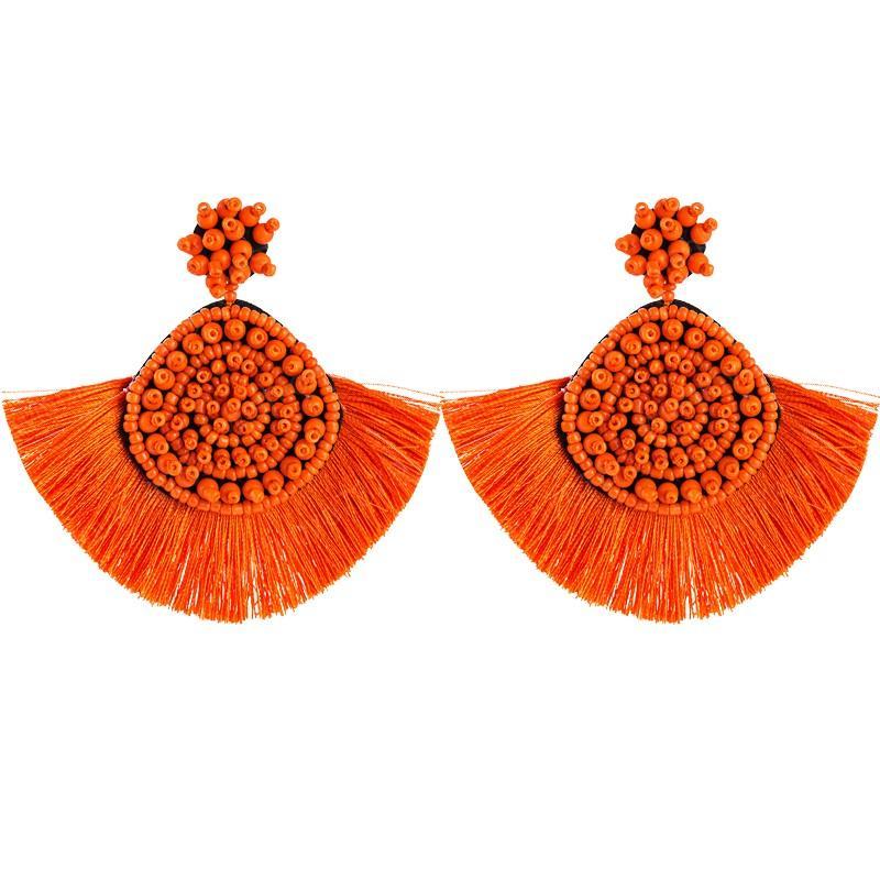 Novas publicações Brincos de Sementes Mulher alta qualidade Bohemian Geometric Rodada Beads brincos de borla