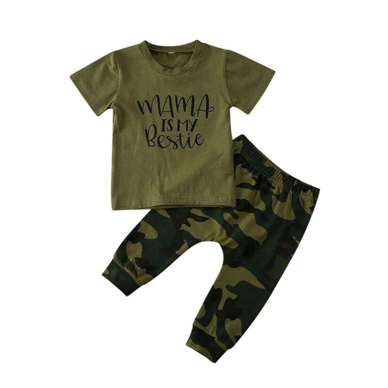 2Pcs Toddler Baby Boy Summer Clothes Set Short Sleeve Camouflage Clothes T-Shirt Tops+Pants Outfits 0-3Years