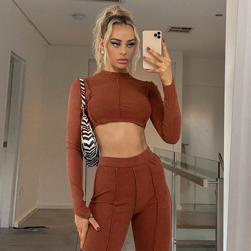 moda outono novas sensuais cadeia cabresto sem encosto ocasional terno de cintura alta cobre umbigo das mulheres + calças perna larga outdoor correndo roupas de fitness