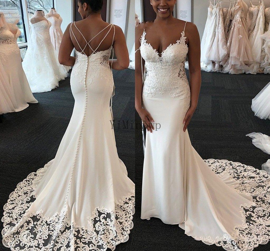White Mermaid Wedding Dresses Spaghetti Sweep Train Appliques Beach Country Bridal Gowns vestidos de novia robes de mariée Custom Cheap