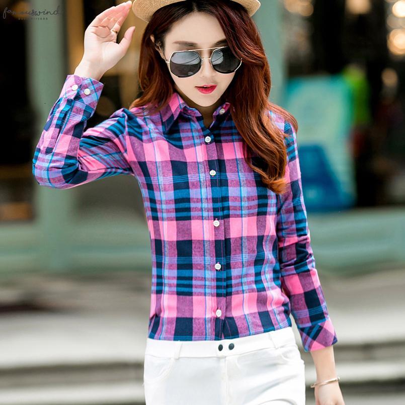 Frauen Bluse Shirt 2020 Frühling-neue Art und Weise College-Art-beiläufige kühle Student Plaid Langarm-Shirt in Übergrößen Blusen Chemise