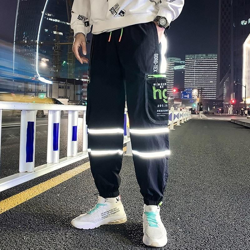 Januarysnow Men's Leggings Loose Nine-point Pants Street Trend Hip-hop Cargo Stitching Pants Men's Color Matching Fluorescent Pants