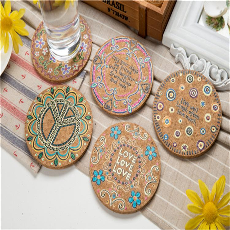 4pcs / set Cork Natural eliminatória da Taça Mat Drink Coasters isolamento térmico Patterned Pot Holder Mats para Coffee Table Tabela Tabletop Pro T200703