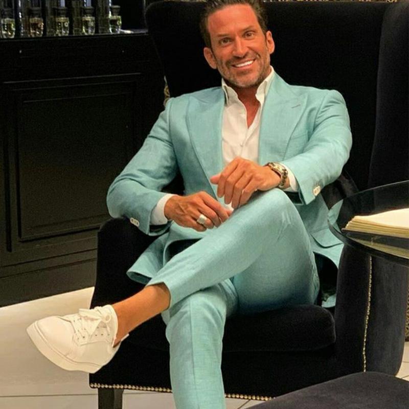 2021 Mint Mens verde do casamento smoking dois botão repicado lapela do noivo desgaste do partido negócio Prom Best Men Blazer Suit (Jacket + calça)