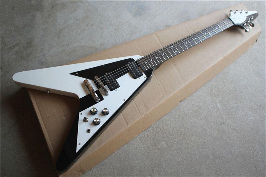 Ücretsiz kargo düzensiz siyah ve beyaz gitar, uçan v gitar, maun vücut, gülağacı klavye, hh pikaplar, krom donanım