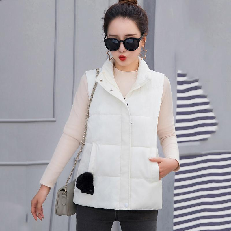 Stand Collar Women Solid Winter Vest Plus Size Cotton Padded Short Style Sleeveless Jacket Thick Outwear Casual Women's Parkas
