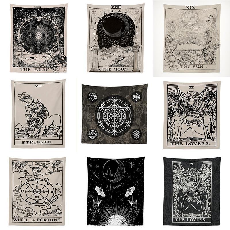 Inde Sorcellerie Tarot Tapisserie Tenture Sun Moon mur tapisserie Tapis Tapiz Sorcellerie Tissu