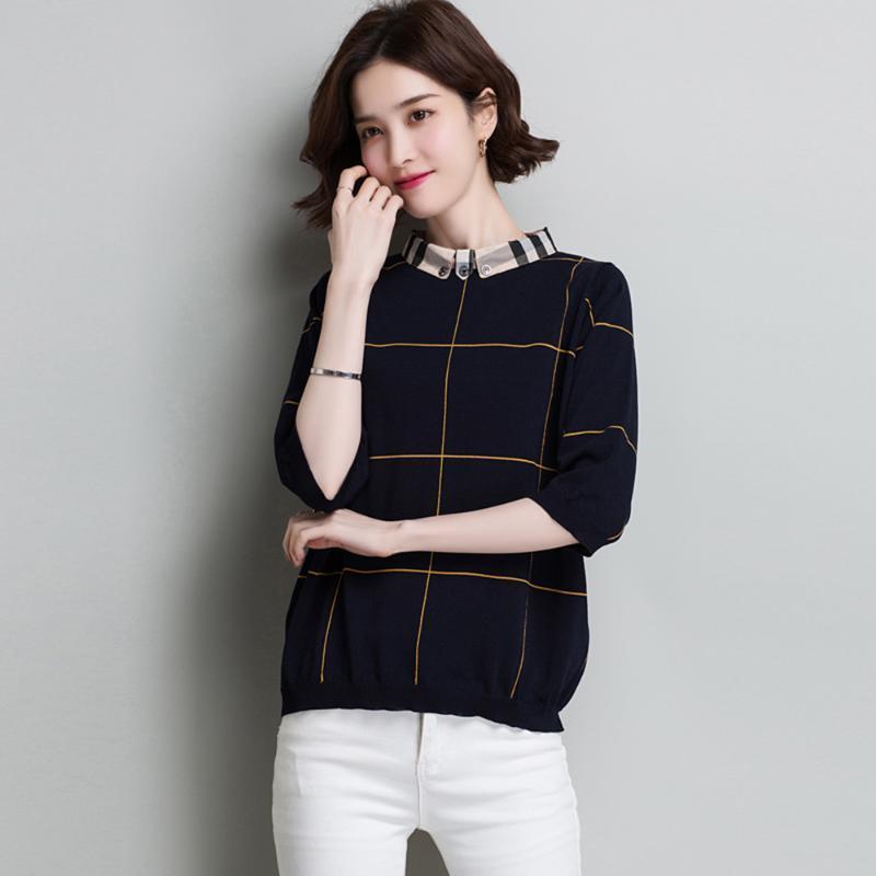Dreiviertel dünne Kragen Eis Damenhülsen Mode Plaid New Pullover Kurze Revers 2020 Seide All Match T-Shirt Xchad