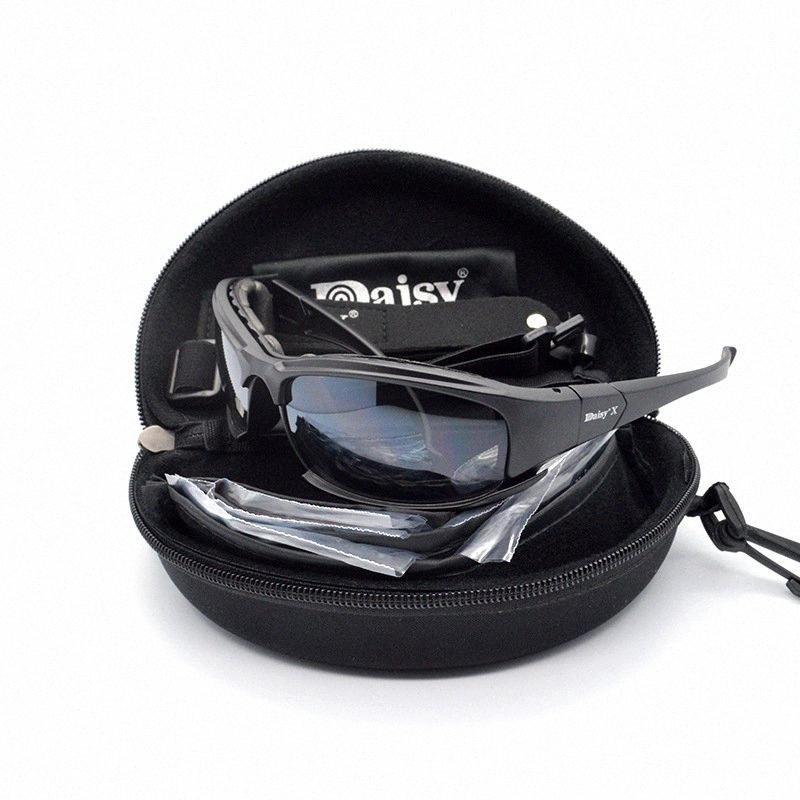 Tactique Daisy Lunettes Lunettes militaires de l'armée lunettes de soleil avec 4 Objectif d'origine Cyclisme Équipement de protection Vélo Boîte hommes Tir Lunettes LNfw #