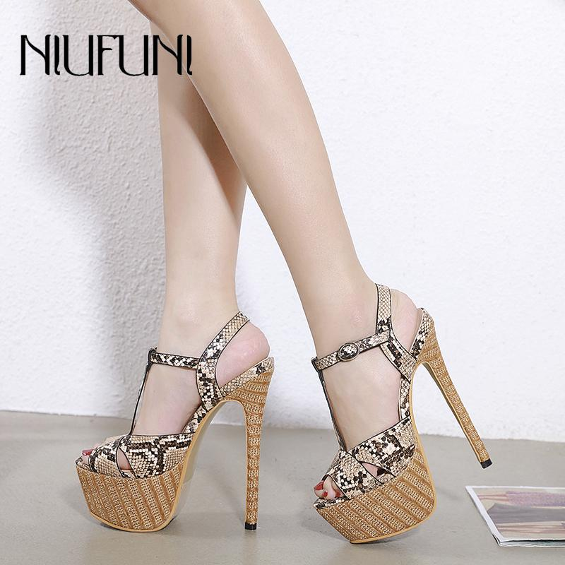 Sexy Snake Pattern Peep Toe Women's Gladiator Sandals Buckle Platform Ultra High Heels 16cm Stiletto Party 2020 Shoes For Women T200713
