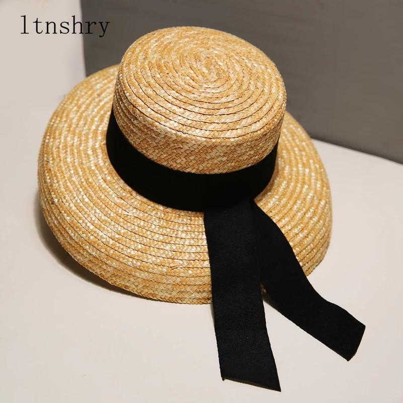 2019 Cinta de verano sombreros para mujer diseñador del sombrero de paja playa del verano del sombrero de Sun de dama francesa retro de ala ancha marca de moda femenina sombrero Y200716