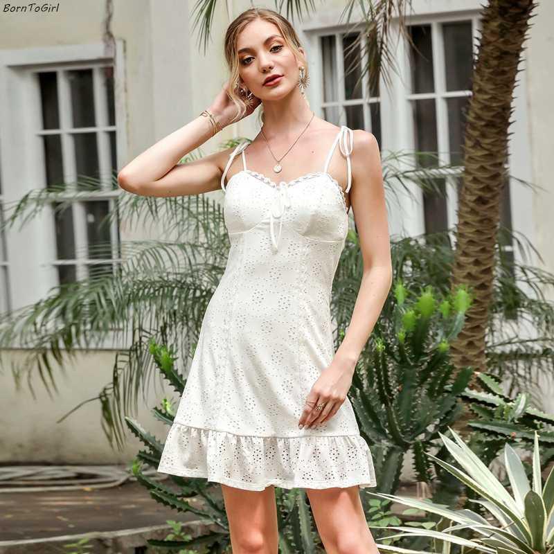 BornToGirl 2020 Yaz Sonbahar Seksi Elbise Kadınlar Kolsuz V Yaka Hollow Beyaz Elbise elbise femme