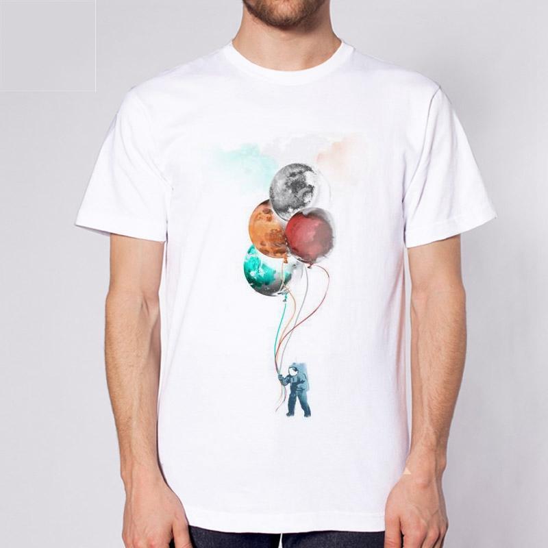 Die Spaceman-Reise Männer-T-Shirt Ballon-Art-Männer Männliche Mode-T-Shirt Sommer-Mann-Hemd-Spitze T Short Sleeve