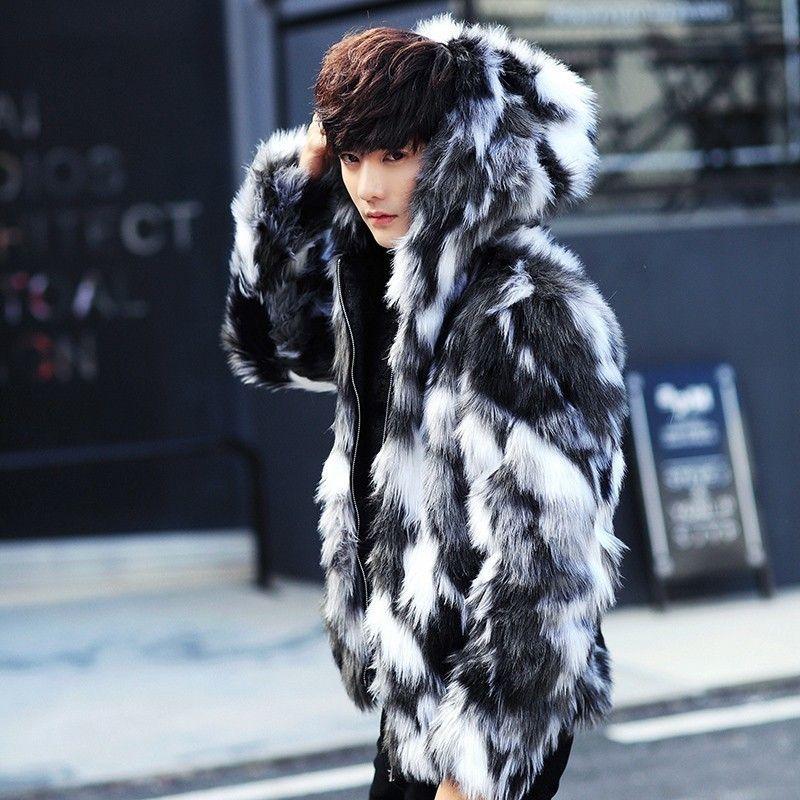 Winter male fur overcoat Mens Fur Coats With Hood FurParka Oversized Men Overcoat Warm Faux Fur Jacket Men CX200804