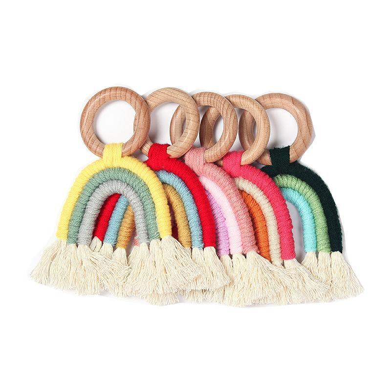Nuovo modo di INS tettarella Wodden Rianbow del bambino della ragazza del ragazzo manichino ciuccio bella giocattoli per bambini chiave catena capezzoli supporto della catena di clip da regalo Strap