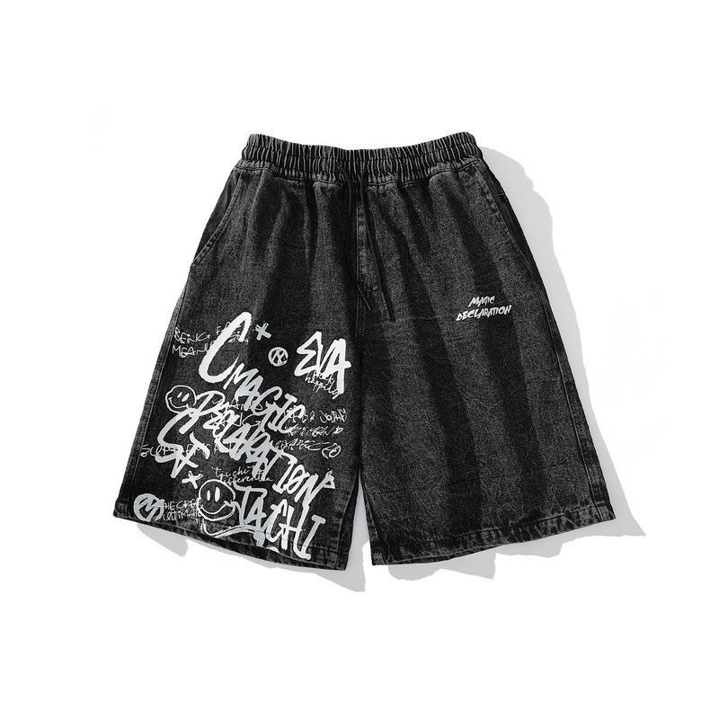 / Desgaste dos homens Tide verão 2020 novos calções Doodle calças de ganga para alta do sexo masculino Rua do vintage solto Maré na altura do joelho patns 9Y1315