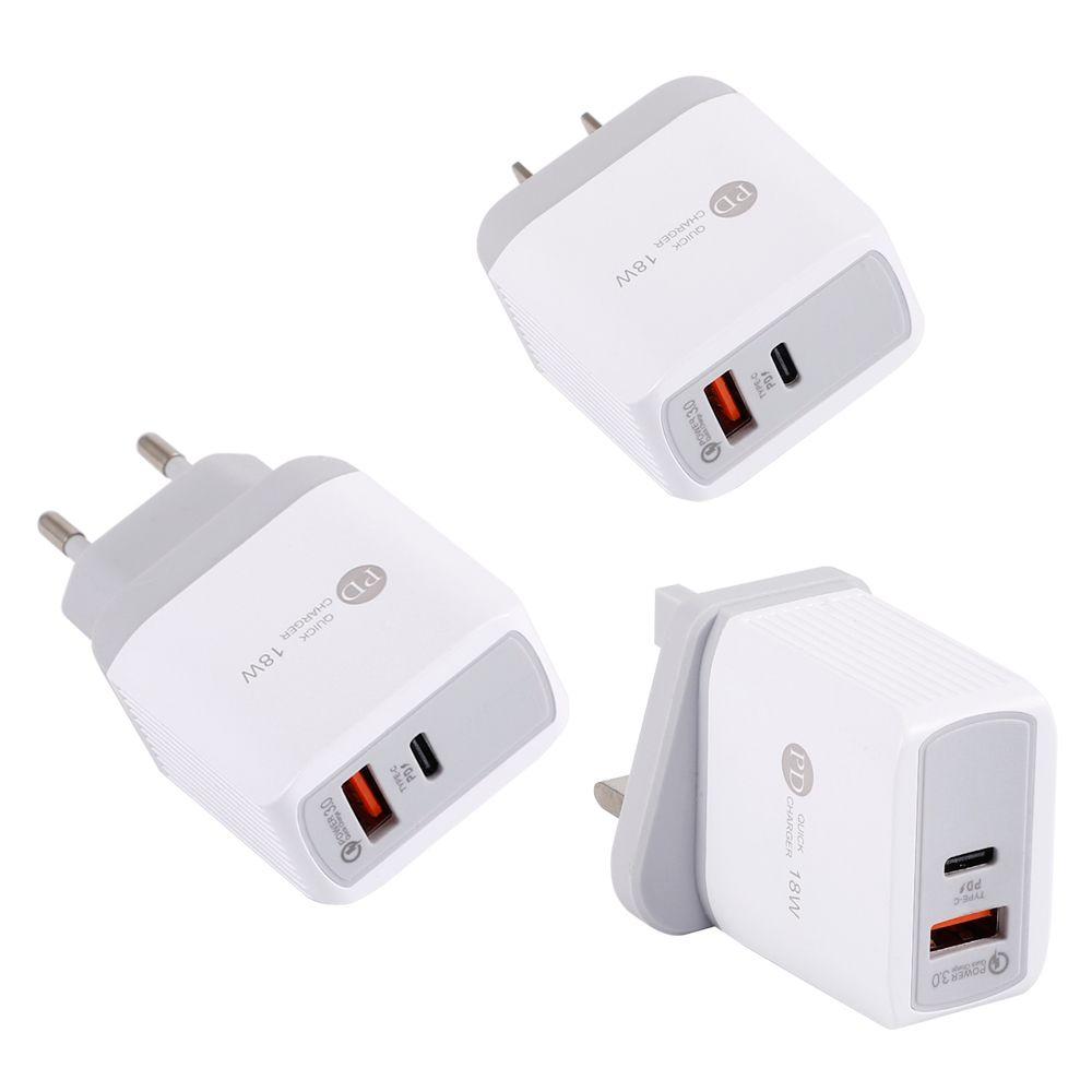 iPhone AB ABD Plug Hızlı Şarj için Samsung S10 Huawei İçin Evrensel USB PD 18W USB PD Quick Charge QC 3.0