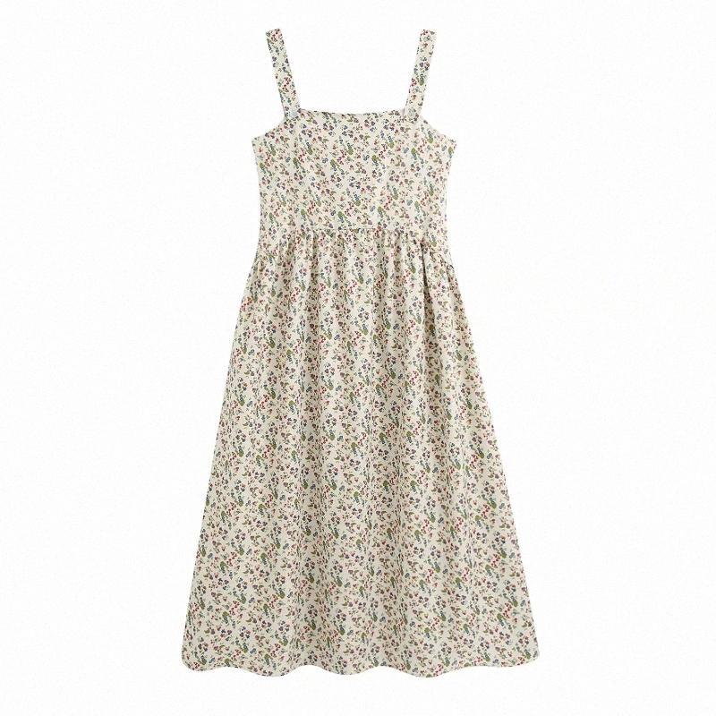 2020 Frauen Prairie Chic-Blumendruck-Riemen-Kleid weiblichen Knopf Spaghetti-Bügel faltet Vestidos beiläufige dünne Midi-Kleider DS3724 NdWS #