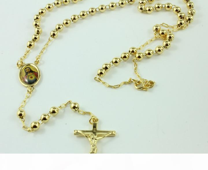 18K Real Yellow Gold Rosary Pray Bead The Holy Spirit Jesus Cross Necklace chain in a gift box Not satisfied with the refund