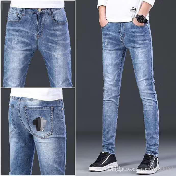 Herren Frühling und Herbst neuer Slim-Fit mit der Mode gerade Jeans Hose