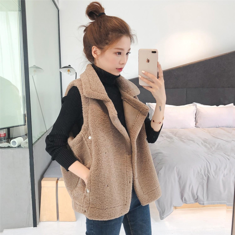 E4021 vest Korean style autumn lapel winter big and lamb fur women's plush 2019 vest sleeveless waistcoat