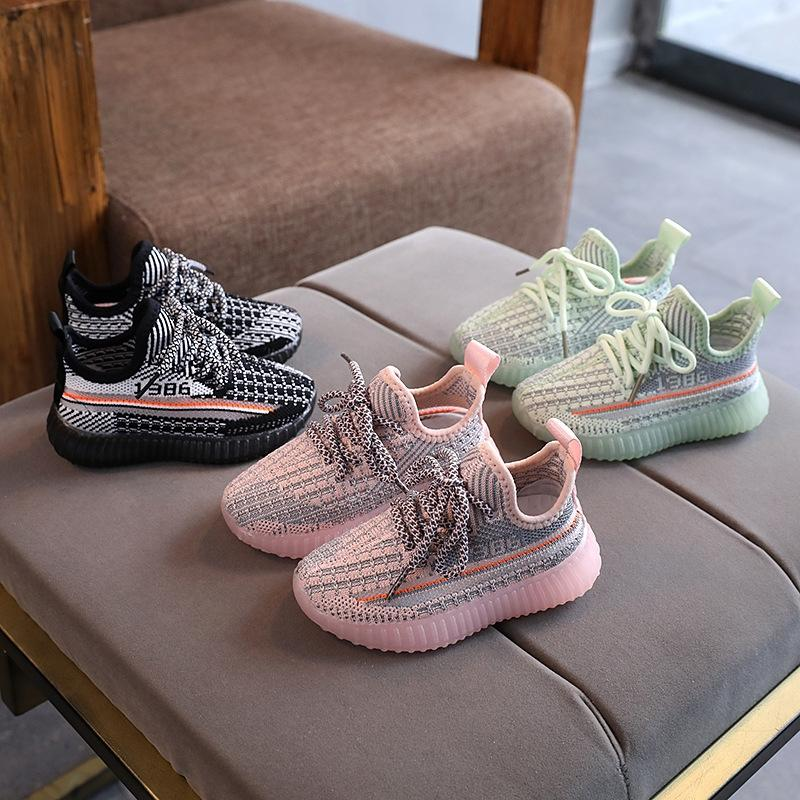 l3IF3 2020 otoño nuevas zapatillas de deporte zapatillas de deporte corrientes suaves suela de niños para niños y volando los zapatos para niños tejidas antideslizantes niñas de malla transpirable