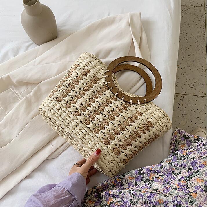 Factory wholesale women handbag romantic holiday woven summer beach bag large striped fashion handbag elegant atmosphere straw beach bag