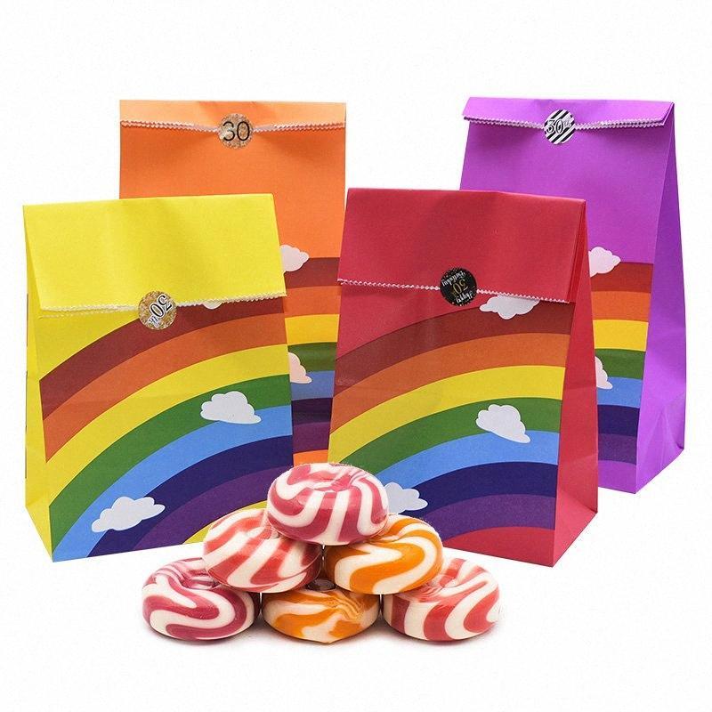 5 / 8pcs patrón Corlorful Kraft Bolsa de papel del arco iris del caramelo de la boda de regalo dulce de la galleta Bolsas Empaque y fiesta de cumpleaños de la caja y7SL #