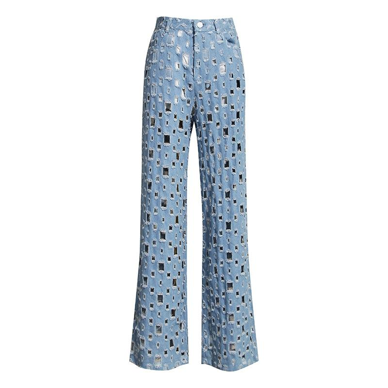 Pantalon large jambe Denim Femme Mode taille haute évider long Jeans en vrac Ripped trou Vintage Washed cow-boy bleu Pantalon