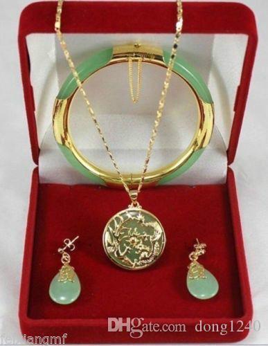 Charme jade vert dragon pendentifs Phoenix collier boucles d'oreilles bracelet