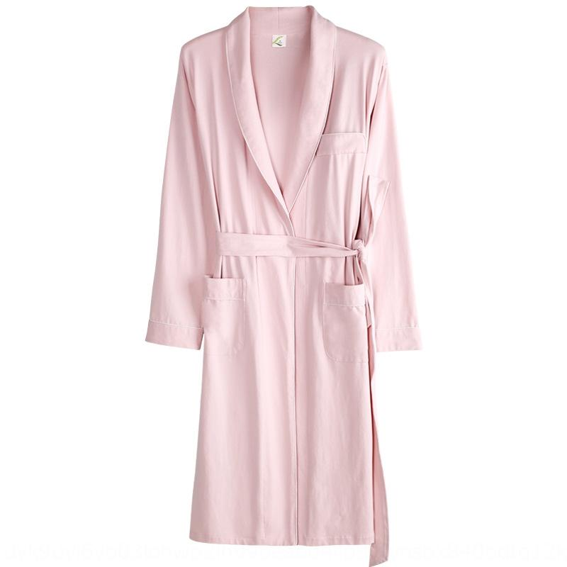 bathr camisón par de manga larga y media distancia de verano de algodón Albornoz pijamas resorte del algodón del otoño de las mujeres fáciles pijamas de los hombres delgados NBcyF