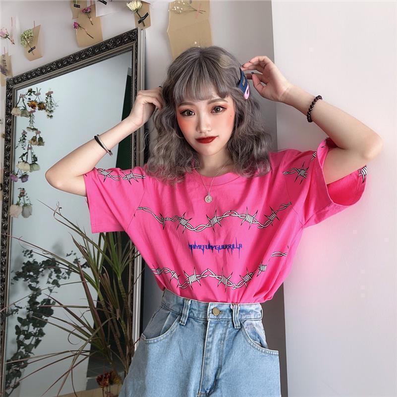 Верхняя одежда Женская гот Hip Hop Cap рукавом с коротким рукавом Повседневная Лето футболки Femme Harajuku Bf Streetwear Сыпучие Девушки досуга Рубашки