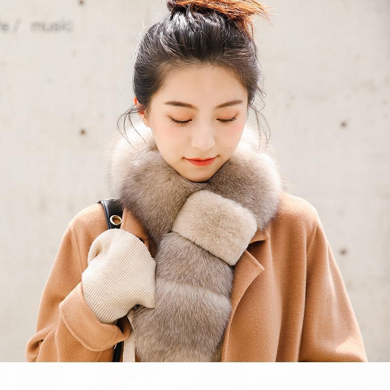 ZDFURS * 2018 sciarpa reale della pelliccia di Fox con Rex Rabbit Fur sciarpa naturale della pelliccia di Fox del silenziatore di trasporto