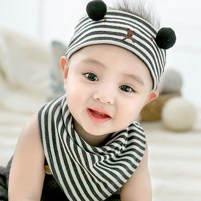 2020 Baby Fashion Newborn Hats Babys Striped Bear Print Cotton Hats Boys and Girls Designer Caps + Triangle Scarf Children 2020 Crochet Hat