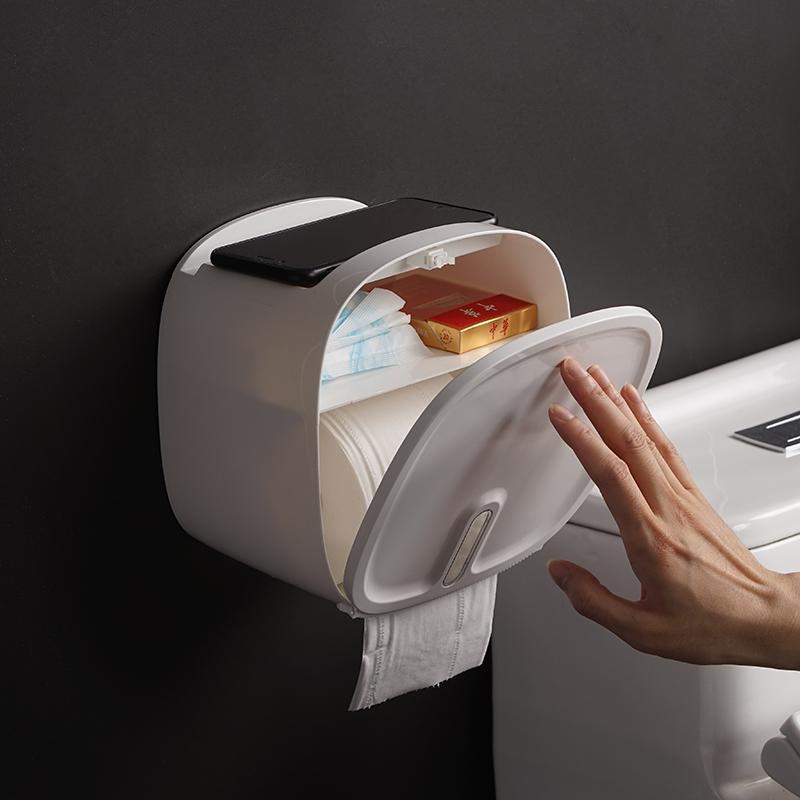 Impermeable papel higiénico titular montado en la pared del tubo del rollo de papel Toallas Caja de almacenamiento de doble capa de baño Dispensador Organizador Herramientas