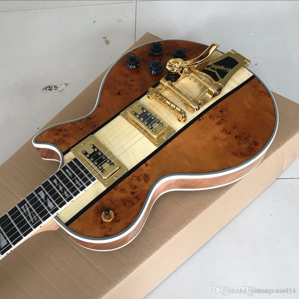 Padrão LP пользовательских Guitarra Eletrica сделать джаз, Personalizado Marrom Dourado топ JAZZ Guitarra Eletrica Padrão Mostra фото Real