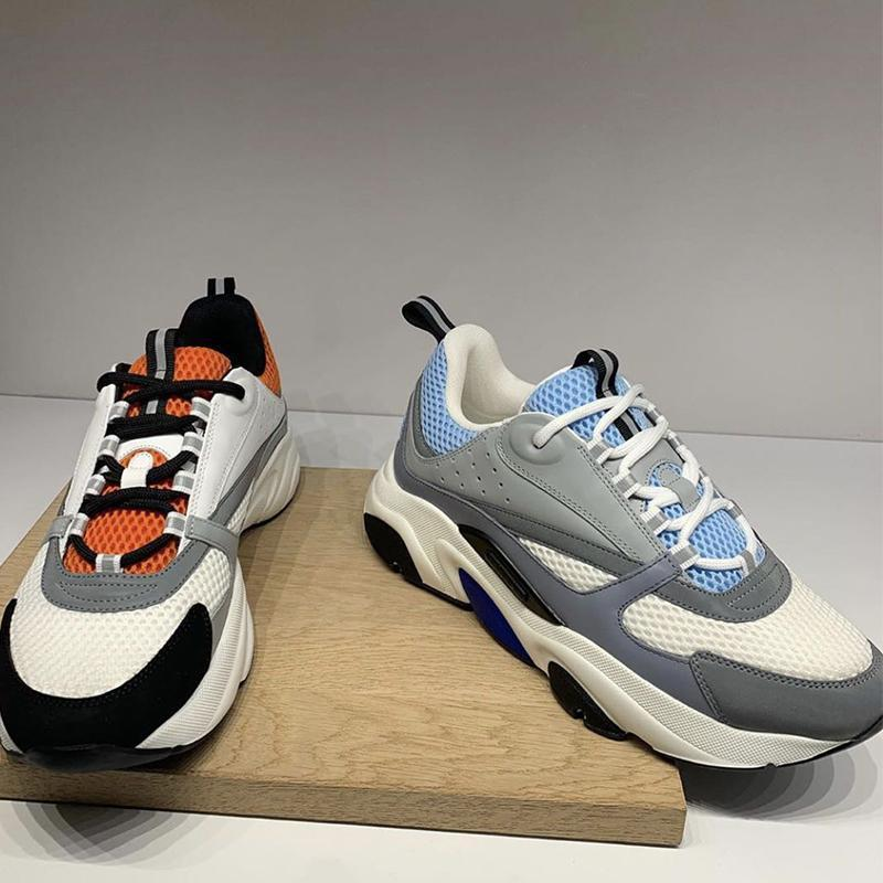B22 zapatillas de deporte Reflexión técnica de malla y piel de becerro gris para hombre Zapatos de plataforma gruesos blancos formadores talón de goma zapatos de las mujeres con la caja en ejecución