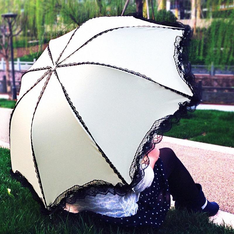 Новый творческий Lace девушки Зонт дождь Женщины в три раза зонтик 8-Rib ветрозащитный Anti-UV Black Coating Summer Sun v79T #