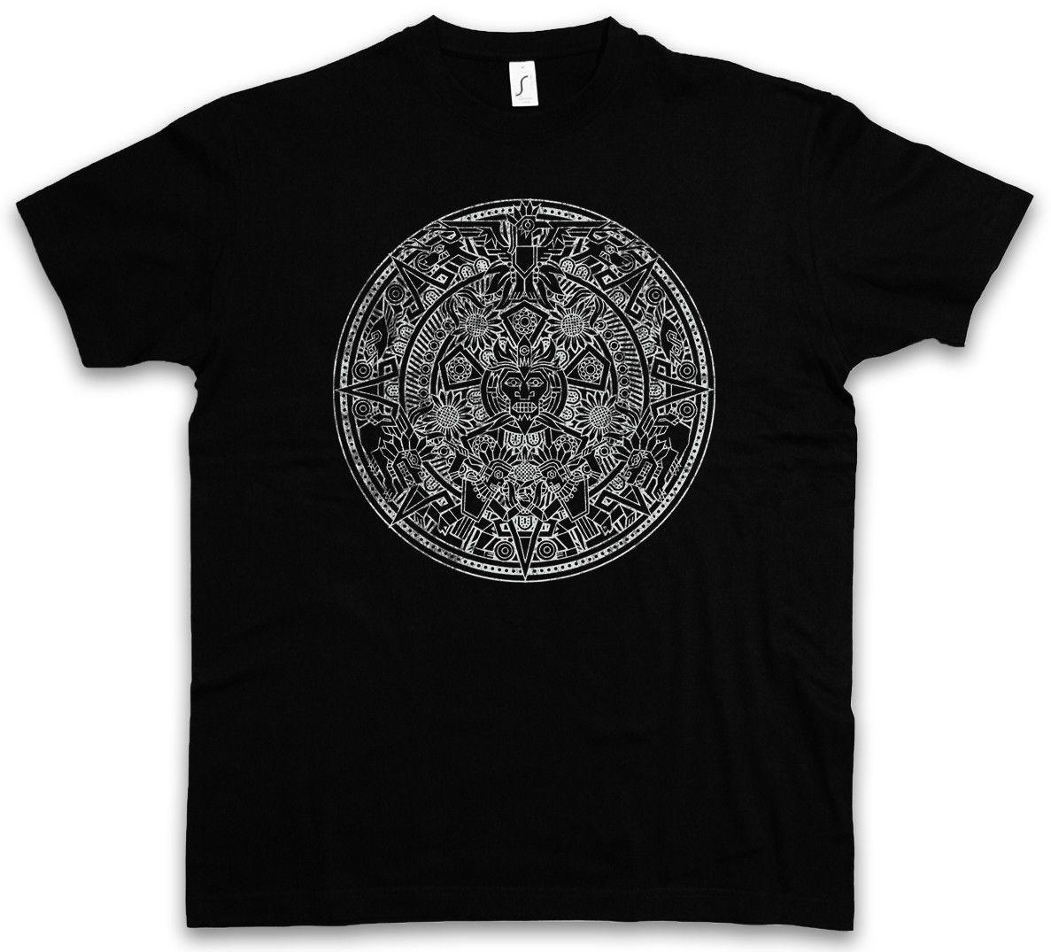 2019 Aztec Mandala T-Shirt índios americanos maias Maya Sign Calendário México Homens da aptidão Camiseta T-shirt de Fitness For Men O-Neck