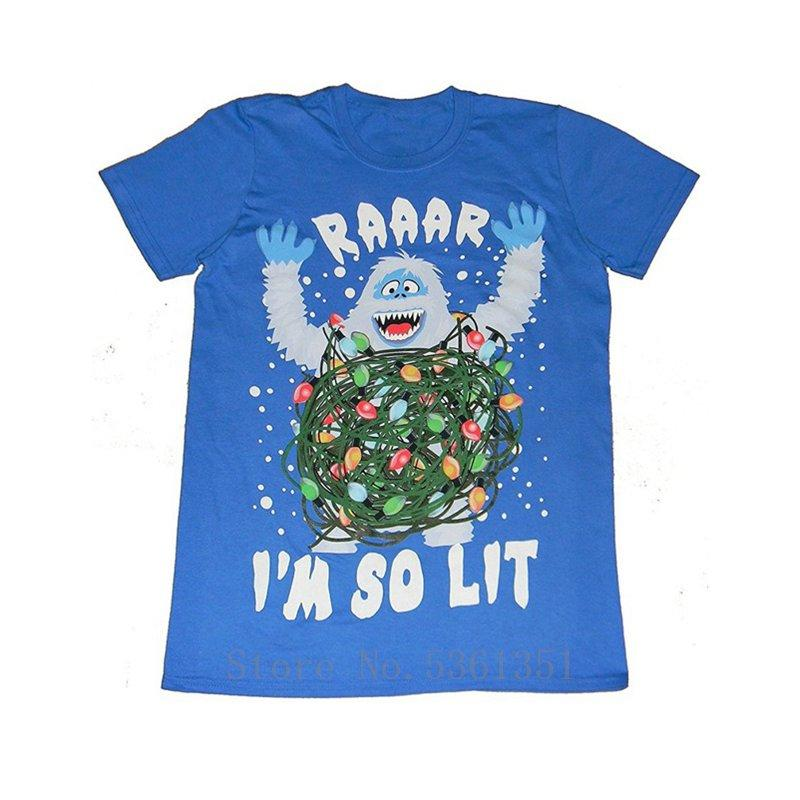 Mens Christmas Rudolph The Red Nosed Reindeer Abominable Snowman Raaar I'M So Lit T Shirt Size Xl 46 48