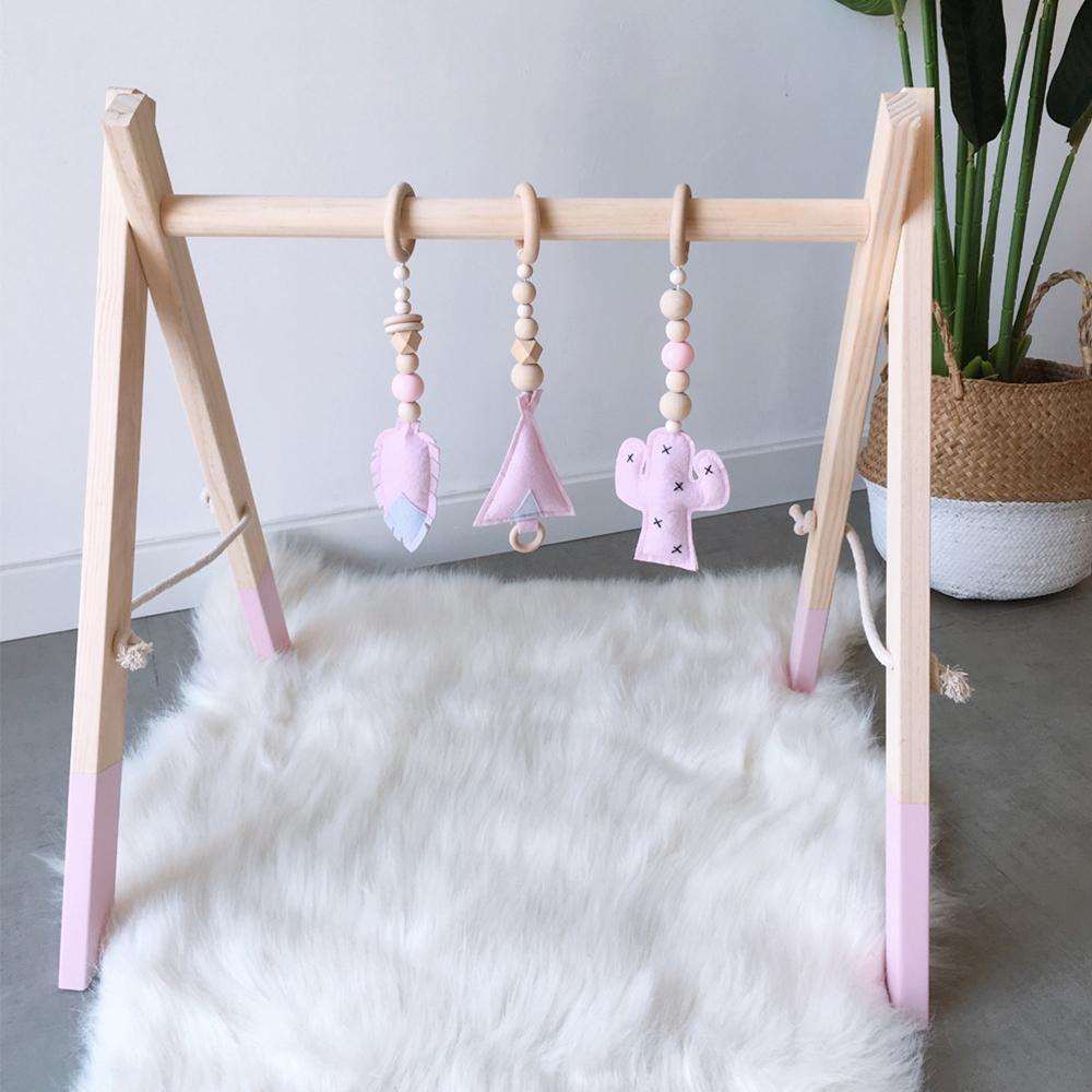İskandinav Bebek Gym Çal Kreş Duyu Ring-çekme Oyuncak Ahşap Çerçeve Bebek Odası Bebek Giyim Hediyelik Çocuk Odası Dekor Raf