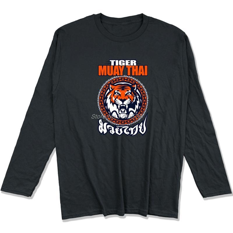 Homens Muay Thai Tiger Men Tiger Muay Thai 3 Tailândia Martial Art T-shirt Casual manga comprida O-pescoço camisa de algodão Hip Hop Tops T